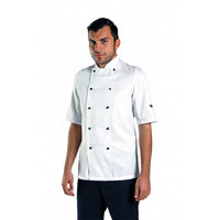 Short sleeve chef's jacket with removable studs (DE20S)