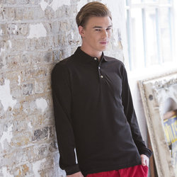 Long sleeve cotton polo shirt